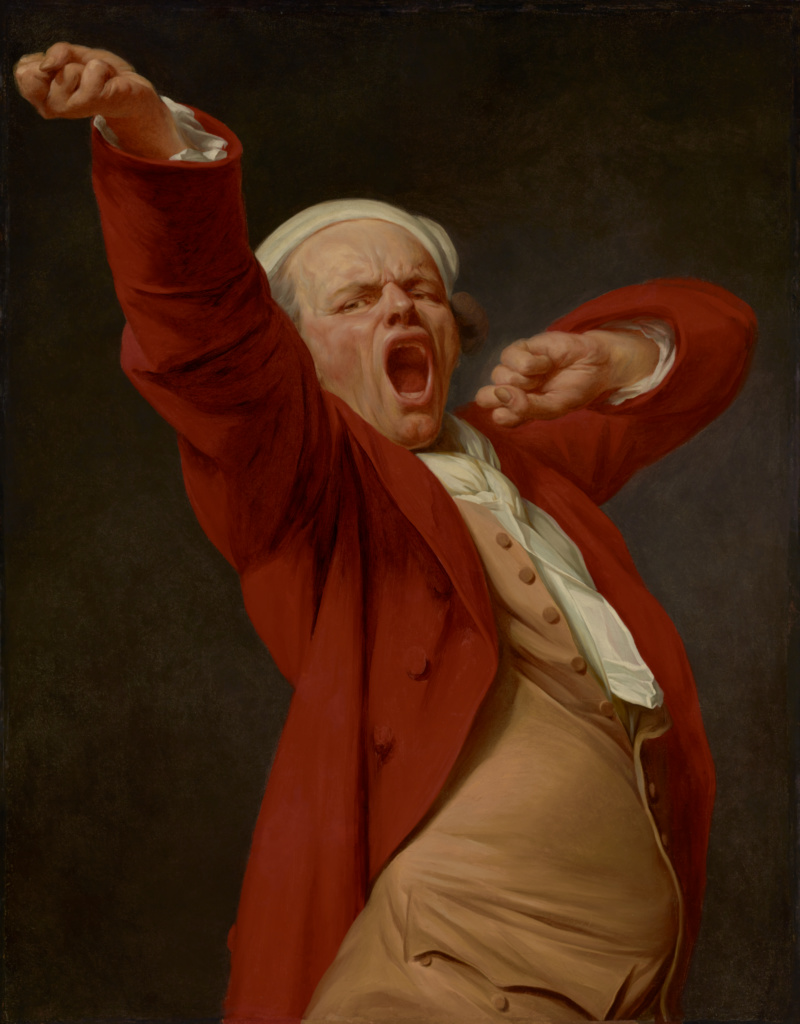 Self-Portrait, Yawning; Joseph Ducreux (French, 1735 - 1802); by 1783; Oil on canvas; 117.8 × 90.8 cm (46 3/8 × 35 3/4 in.); 71.PA.56; The J. Paul Getty Museum, Los Angeles; Rights Statement: No Copyright - United States