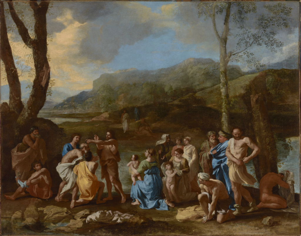 Saint John Baptizing in the River Jordan; Nicolas Poussin (French, 1594 - 1665); about 1630s; Oil on canvas; 95.6 × 121.3 cm (37 5/8 × 47 3/4 in.); 71.PA.58; The J. Paul Getty Museum, Los Angeles; Rights Statement: No Copyright - United States