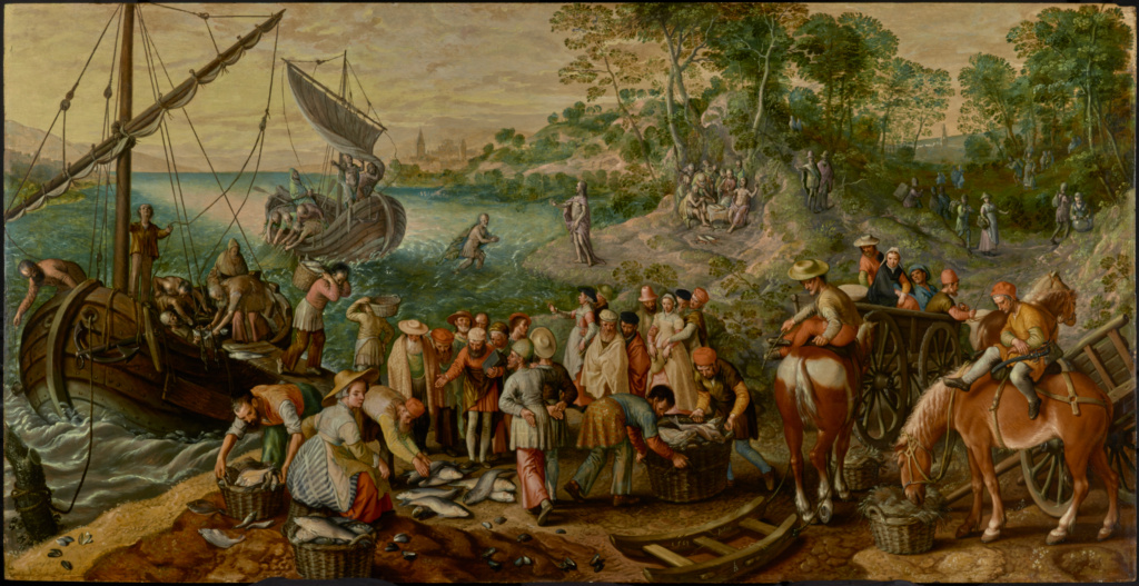The Miraculous Draught of Fishes; Joachim Beuckelaer (Netherlandish, about 1534 - about 1574); 1563; Oil on panel; 110.5 × 210.8 cm (43 1/2 × 83 in.); 71.PB.59; The J. Paul Getty Museum, Los Angeles; Rights Statement: No Copyright - United States