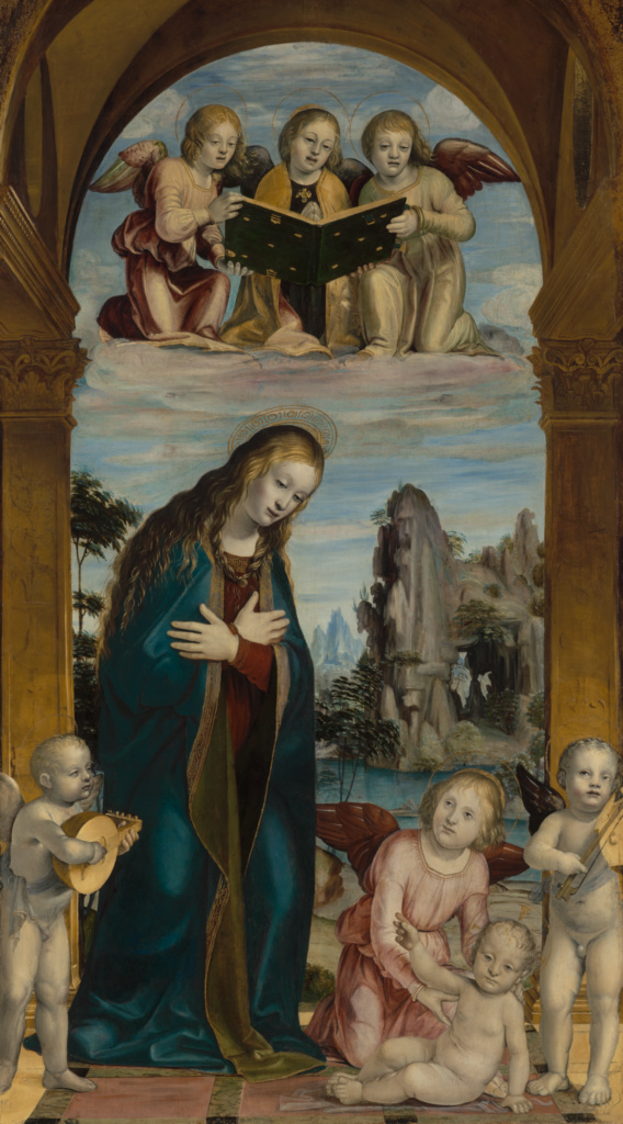 Madonna Adoring the Child with Musical Angels; Bernardino Zenale (Italian, about 1456 - 1526); about 1502; Oil on panel; 143.5 × 85.7 cm (56 1/2 × 33 3/4 in.); 71.PB.60; The J. Paul Getty Museum, Los Angeles; Rights Statement: No Copyright - United States