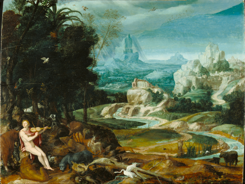 Landscape with Orpheus; Unknown maker, Flemish, 16th century; 16th century, about 1570; Oil on panel; 35.6 × 45.7 cm (14 × 18 in.); 71.PB.64; The J. Paul Getty Museum, Los Angeles; Rights Statement: No Copyright - United States
