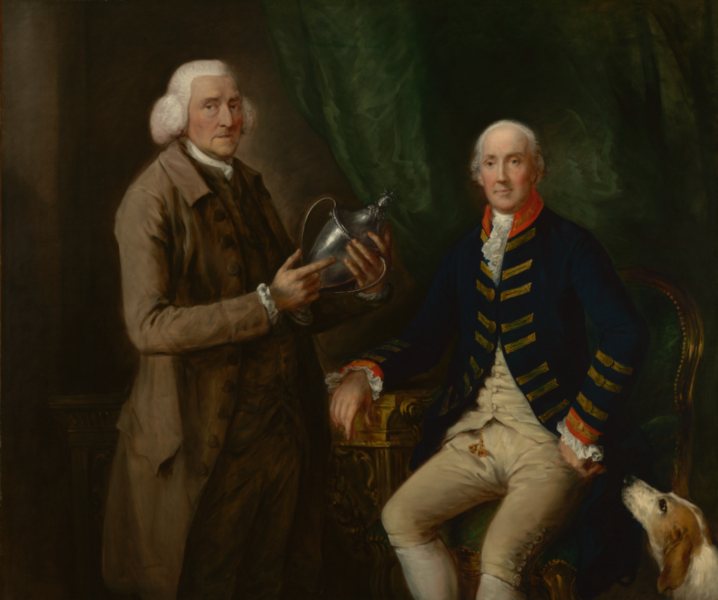 Portrait of William Anne Hollis, 4th Earl of Essex, Presenting a Cup to Thomas Clutterbuck of Watford; Thomas Gainsborough (English, 1727 - 1788); about 1784–1785; Oil on canvas; 146.1 × 173.4 cm (57 1/2 × 68 1/4 in.); 72.PA.2; The J. Paul Getty Museum, Los Angeles; Rights Statement: No Copyright - United States