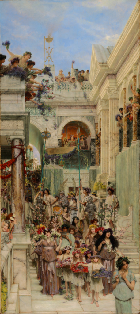 Spring; Lawrence Alma-Tadema (Dutch, 1836 - 1912); 1894; Oil on canvas; 178.4 × 80.3 cm (70 1/4 × 31 5/8 in.); 72.PA.3; Rights Statement: No Copyright - United States