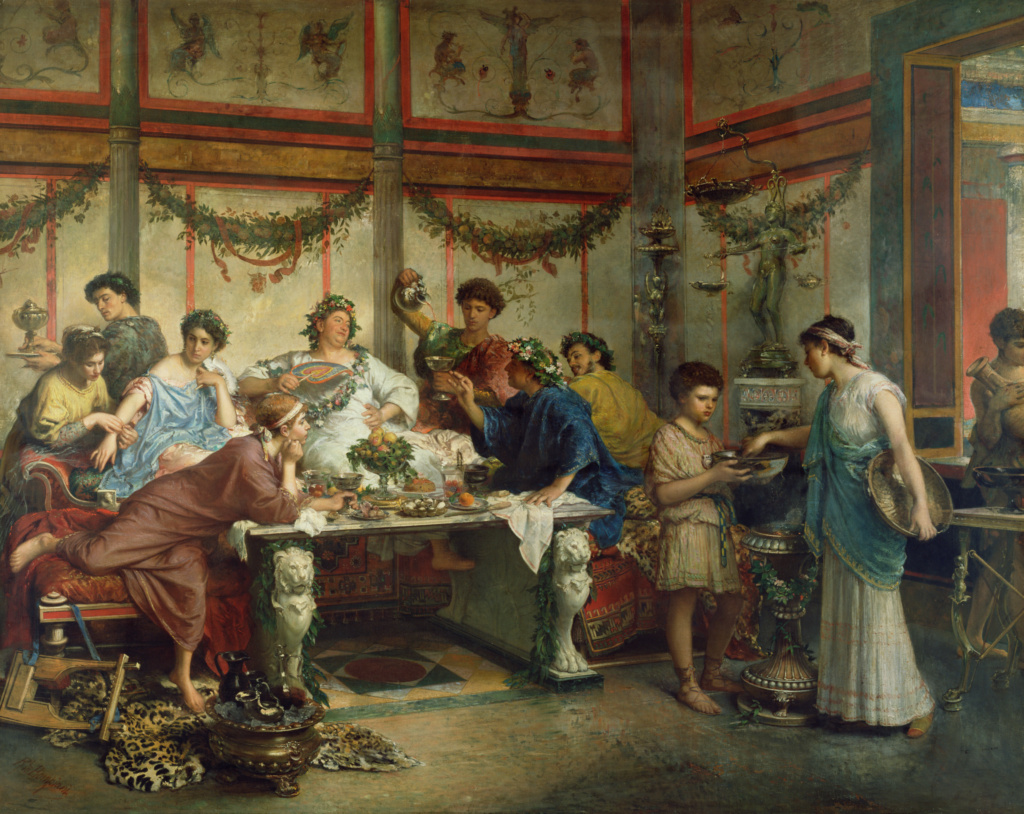 A Roman Feast; Roberto Bompiani (Italian (Roman), 1821 - 1908); late 19th century; Oil on canvas; 127 × 163.8 cm (50 × 64 1/2 in.); 72.PA.4; The J. Paul Getty Museum, Los Angeles; Rights Statement: No Copyright - United States