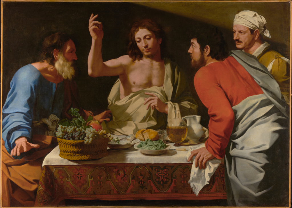 The Supper at Emmaus; Bartolomeo Cavarozzi (Italian, 1587 - 1625); about 1615–1625; Oil on canvas; 139.7 × 194.9 cm (55 × 76 3/4 in.); 72.PA.11; Rights Statement: No Copyright - United States