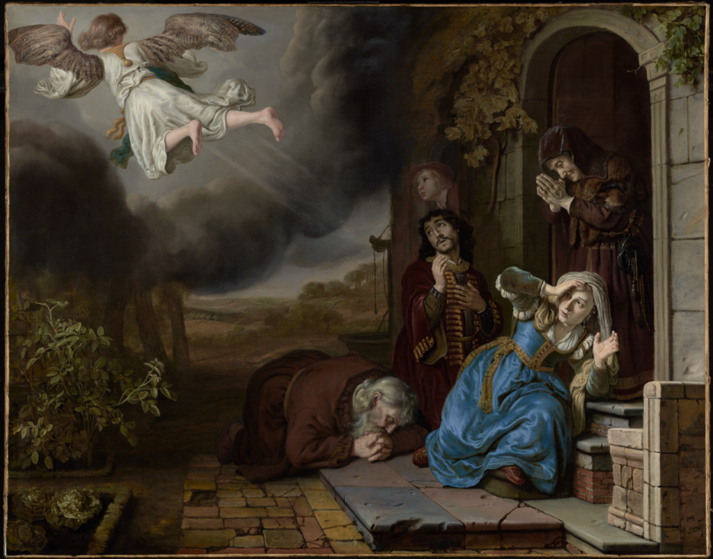 The Angel Taking Leave of Tobit and His Family; Jan Victors (Dutch, 1619 - after 1676); 1649; Oil on canvas; 104.1 × 131.8 cm (41 × 51 7/8 in.); 72.PA.17; The J. Paul Getty Museum, Los Angeles; Rights Statement: No Copyright - United States