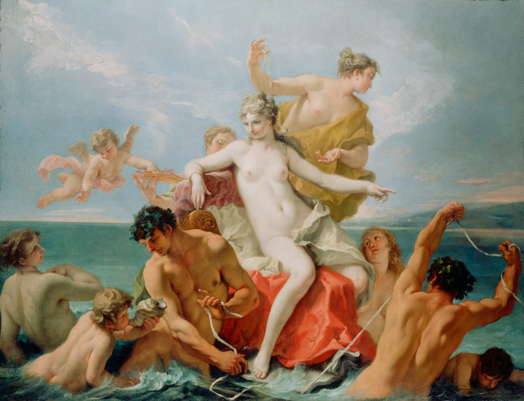 Triumph of the Marine Venus; Sebastiano Ricci (Italian, 1659 - 1734); about 1713; Oil on canvas; 160 × 210.8 cm (63 × 83 in.); 72.PA.29; The J. Paul Getty Museum, Los Angeles; Rights Statement: No Copyright - United States