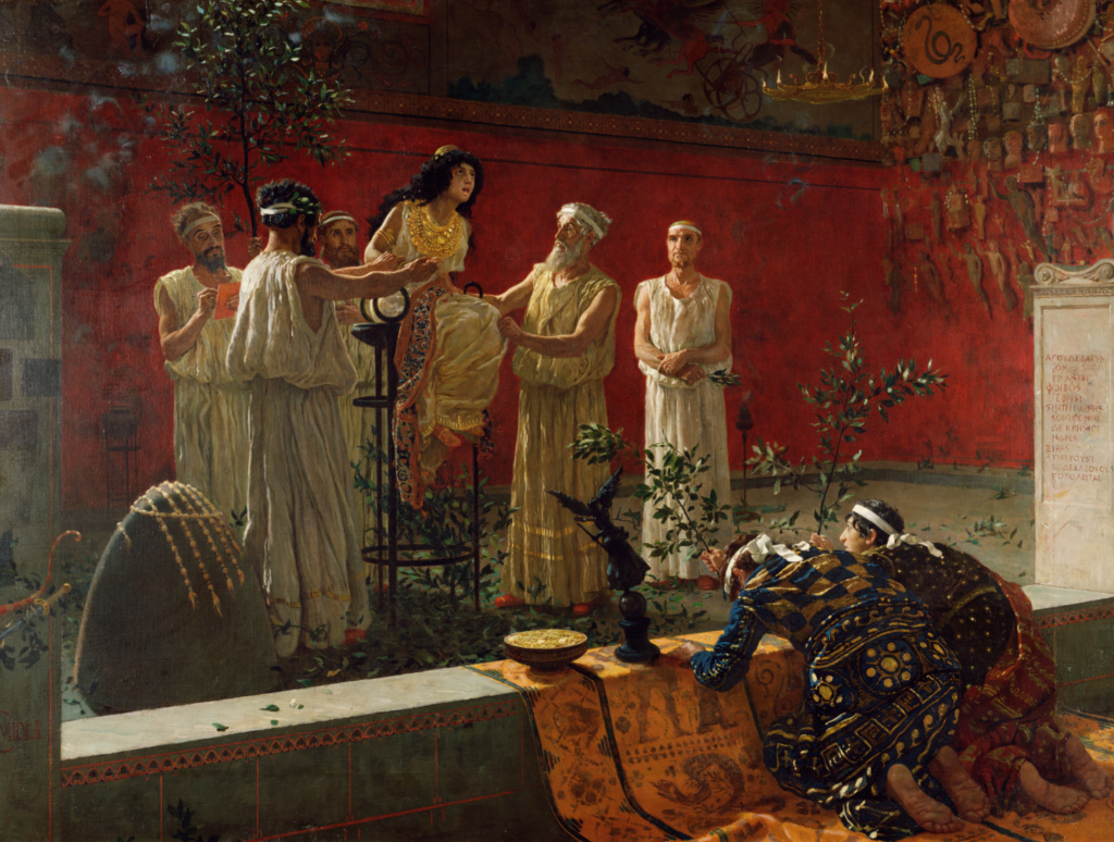 The Oracle; Camillo Miola (Biacca) (Italian (Neapolitan), 1840 - 1919); 1880; Oil on canvas; 108 × 142.9 cm (42 1/2 × 56 1/4 in.); 72.PA.32; Rights Statement: No Copyright - United States