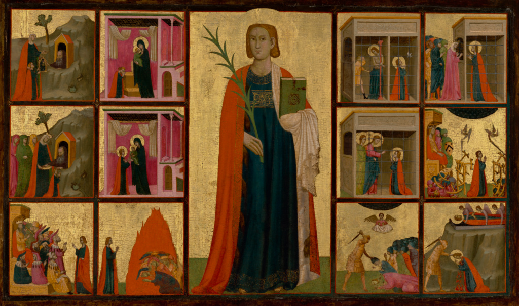 Saint Catherine of Alexandria and Twelve Scenes from Her Life; Donato d'Arezzo (Italian (Aretine), active 1315 - about 1340), Gregorio d'Arezzo (Italian (Aretine), active 1315 - about 1340); Italy; about 1330; Tempera and gold leaf on panel; 107 × 174 cm (42 1/8 × 68 1/2 in.); 73.PB.69; The J. Paul Getty Museum, Los Angeles; Rights Statement: No Copyright - United States