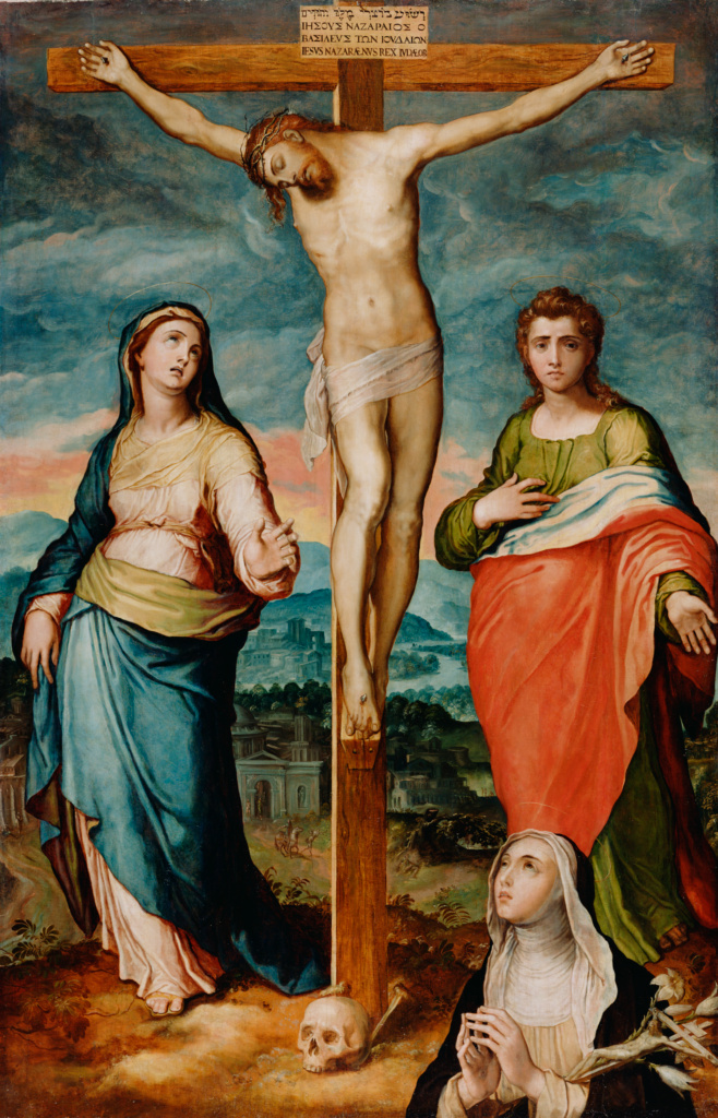Christ on the Cross with the Virgin, Saint John the Evangelist, and Saint Catherine of Siena in Adoration; Marco Pino (Italian (Neapolitan), 1521 - 1583); about 1570; Oil on panel; 181.6 × 120.7 cm (71 1/2 × 47 1/2 in.); 73.PB.140; The J. Paul Getty Museum, Los Angeles, Gift of Alfred S. Karlsen; Rights Statement: No Copyright - United States