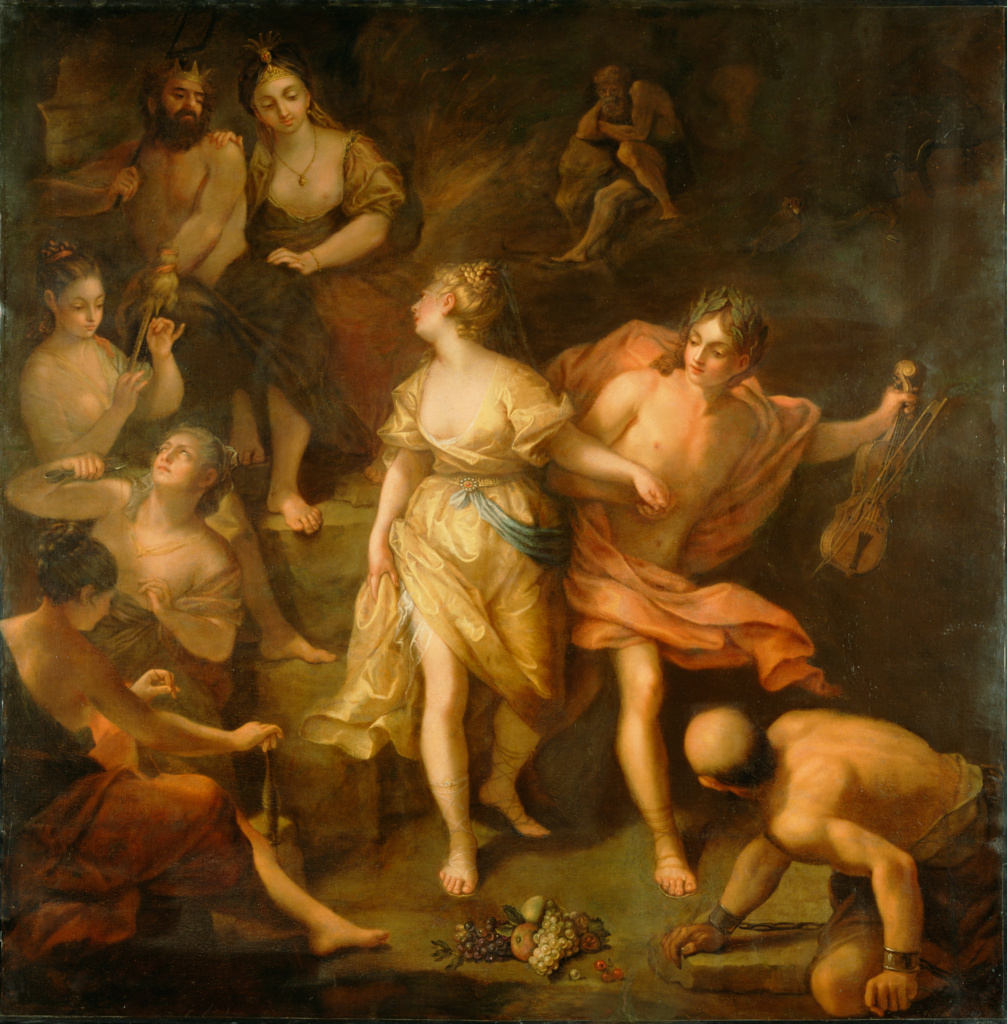 Orpheus and Eurydice; Jean Raoux (French, 1677 - 1734); about 1709; Oil on canvas; 205.7 × 203.2 cm (81 × 80 in.); 73.PA.153; The J. Paul Getty Museum, Los Angeles, Gift of William P. Garred; Rights Statement: No Copyright - United States