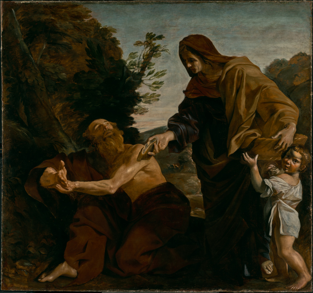 Elijah Receiving Bread from the Widow of Zarephath; Giovanni Lanfranco (Italian, 1582 - 1647); 1621–1624; Oil on canvas; 229.2 × 244.5 cm (90 1/4 × 96 1/4 in.); 76.PA.1; The J. Paul Getty Museum, Los Angeles; Rights Statement: No Copyright - United States