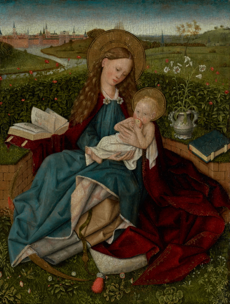 The Madonna of Humility; After Robert Campin (Netherlandish, about 1375 - 1444); about 1450–1470; Oil on panel; 48.6 × 37.8 cm (19 1/8 × 14 7/8 in.); 77.PB.28; Rights Statement: No Copyright - United States