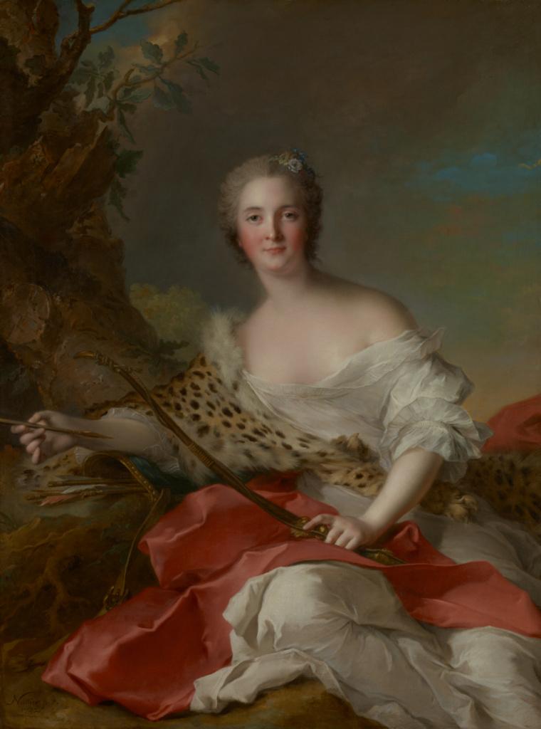 Portrait of Madame Bonnier de la Mosson as Diana (Constance-Gabrielle-Magdeleine du Monciel de Lauraille); Jean-Marc Nattier (French, 1685 - 1766); 1742; Oil on canvas; 129.5 × 96.8 cm (51 × 38 1/8 in.); 77.PA.87; Rights Statement: No Copyright - United States