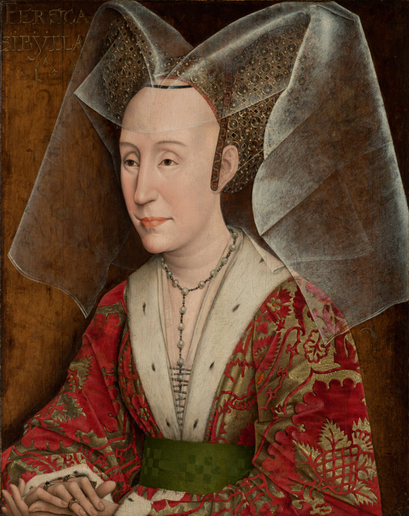 Portrait of Isabella of Portugal; Workshop of Rogier van der Weyden (Netherlandish, 1399/1400 - 1464); Netherlands; about 1450; Oil on panel; 46 × 37.1 cm (18 1/8 × 14 5/8 in.); 78.PB.3; The J. Paul Getty Museum, Los Angeles; Rights Statement: No Copyright - United States