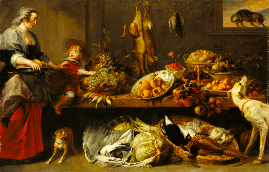 Kitchen Still Life with a Maid and Young Boy; Frans Snyders (Flemish, 1579 - 1657), with figures attributed to Jan Boeckhorst (German, about 1604 - 1668); mid-17th century; Oil on canvas; 240 × 152.4 cm (94 1/2 × 60 in.); 78.PA.207; The J. Paul Getty Museum, Los Angeles; Rights Statement: No Copyright - United States