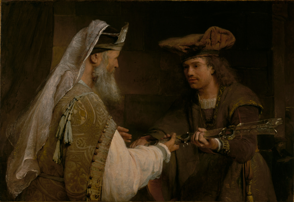 Ahimelech Giving the Sword of Goliath to David; Aert de Gelder (Dutch, 1645 - 1727); about 1680s; Oil on canvas; 91.8 × 132.4 cm (36 1/8 × 52 1/8 in.); 78.PA.219; The J. Paul Getty Museum, Los Angeles; Rights Statement: No Copyright - United States