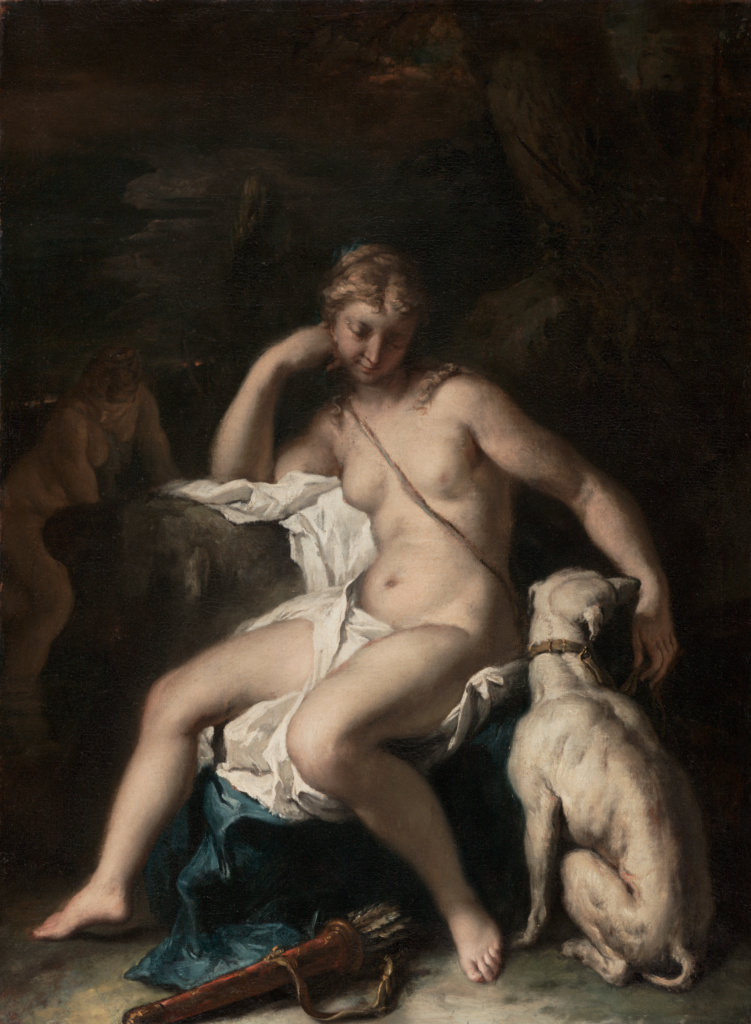 Diana and Her Dog; Sebastiano Ricci (Italian, 1659 - 1734); 1717–1720; Oil on canvas; 74 × 55.6 cm (29 1/8 × 21 7/8 in.); 78.PA.230; The J. Paul Getty Museum, Los Angeles; Rights Statement: No Copyright - United States