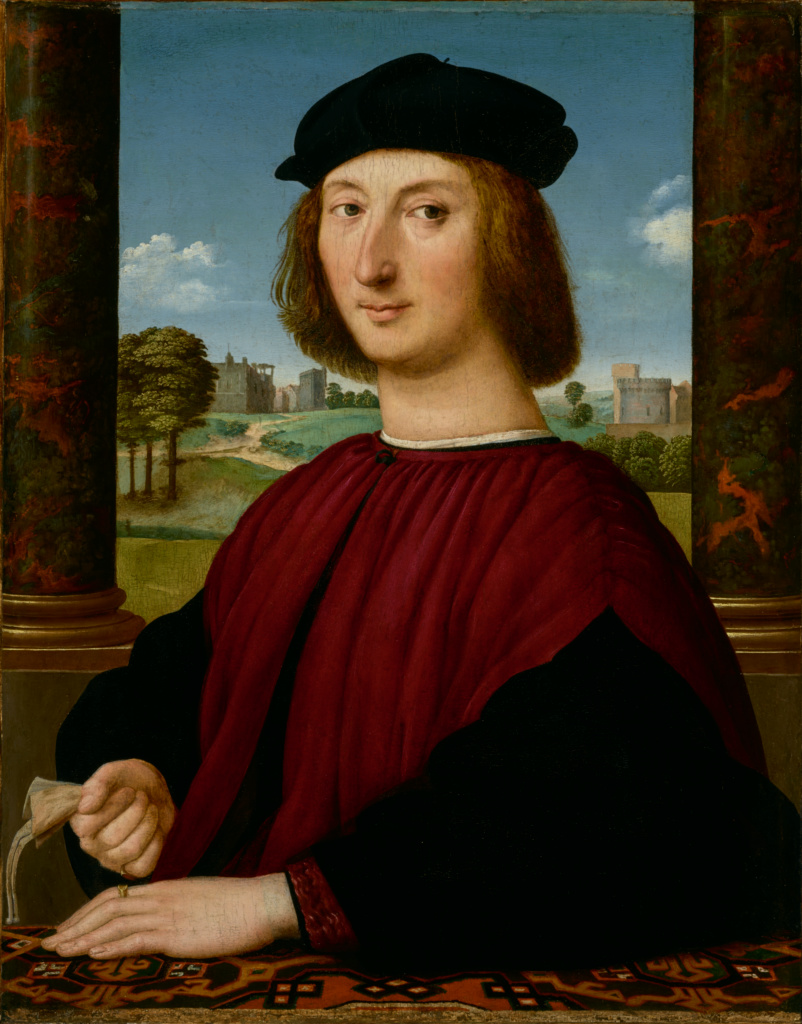 Portrait of a Young Man in Red; Circle of Raphael (Raffaello Sanzio) (Italian, 1483 - 1520); about 1505; Oil on panel; 67.3 × 52.7 cm (26 1/2 × 20 3/4 in.); 78.PB.364; Rights Statement: No Copyright - United States