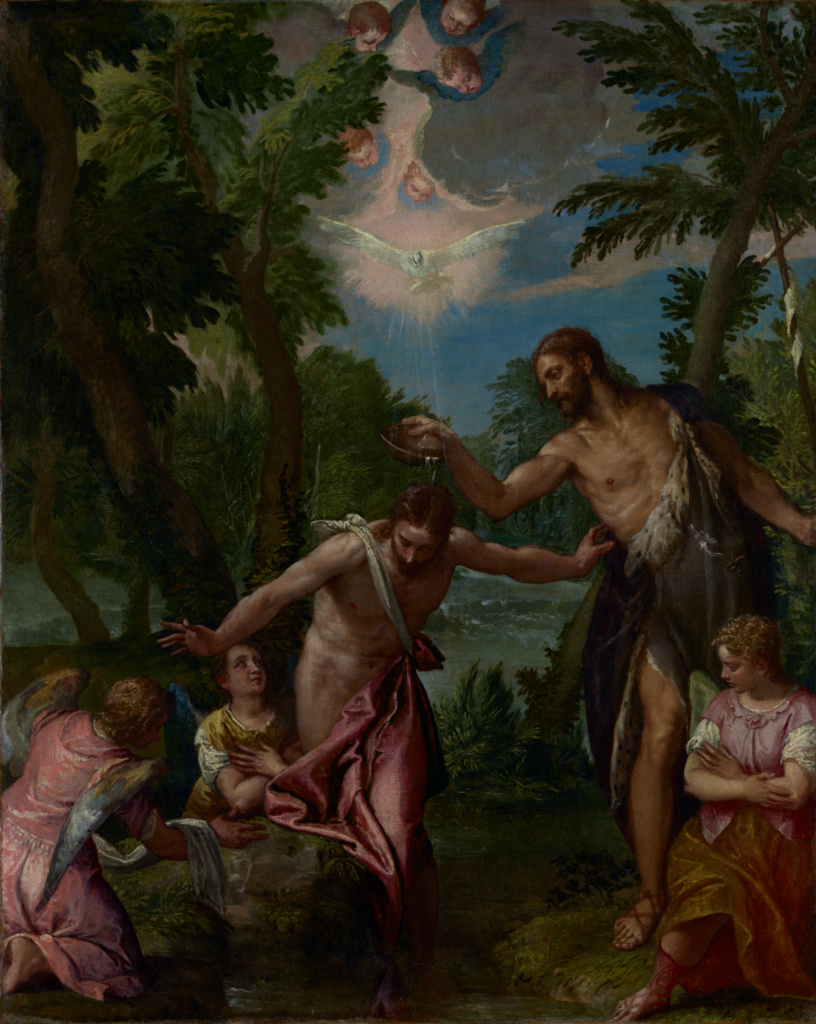 The Baptism of Christ; Paolo Veronese (Paolo Caliari) and workshop (Italian, 1528 - 1588); about 1580–1588; Oil on canvas; 104.5 × 83.2 cm (41 1/8 × 32 3/4 in.); 79.PA.19; The J. Paul Getty Museum, Los Angeles; Rights Statement: No Copyright - United States