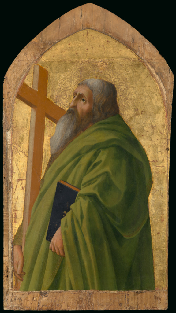 Saint Andrew; Masaccio (Tommaso di Giovanni Guidi) (Italian (Florentine), 1401 - 1428); 1426; Tempera and gold leaf on panel; 52.4 × 32.1 cm (20 5/8 × 12 5/8 in.); 79.PB.61; The J. Paul Getty Museum, Los Angeles; Rights Statement: No Copyright - United States