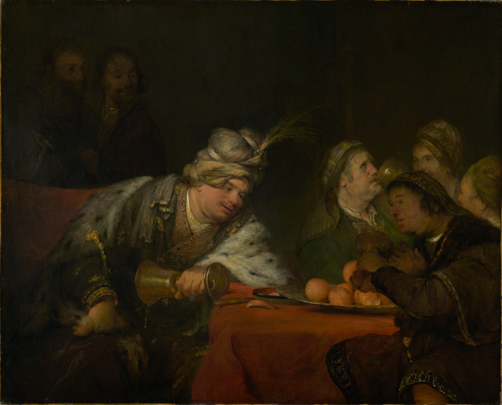 The Banquet of Ahasuerus; Aert de Gelder (Dutch, 1645 - 1727); 1680s; Oil on canvas; 114.3 × 142.2 cm (45 × 56 in.); 79.PA.71; The J. Paul Getty Museum, Los Angeles; Rights Statement: No Copyright - United States