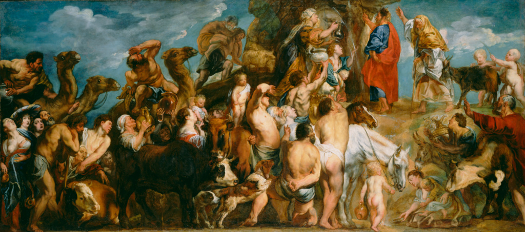 Moses Striking Water from the Rock; Jacob Jordaens (Flemish, 1593 - 1678); about 1645–1650; Oil on canvas; 129.5 × 269.2 cm (51 × 106 in.); 79.PA.136; The J. Paul Getty Museum, Los Angeles; Rights Statement: No Copyright - United States