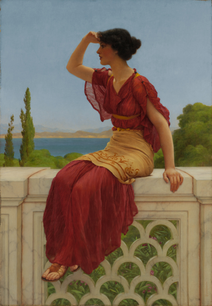 The Signal; John William Godward (British, 1861 - 1922); 1899; Oil on canvas; 66 × 46.4 cm (26 × 18 1/4 in.); 79.PA.148; Rights Statement: No Copyright - United States