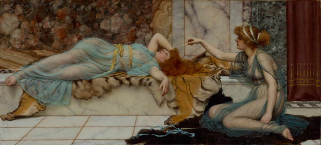 Mischief and Repose; John William Godward (British, 1861 - 1922); 1895; Oil on canvas; 60.6 × 133 cm (23 7/8 × 52 3/8 in.); 79.PA.149; The J. Paul Getty Museum, Los Angeles; Rights Statement: No Copyright - United States