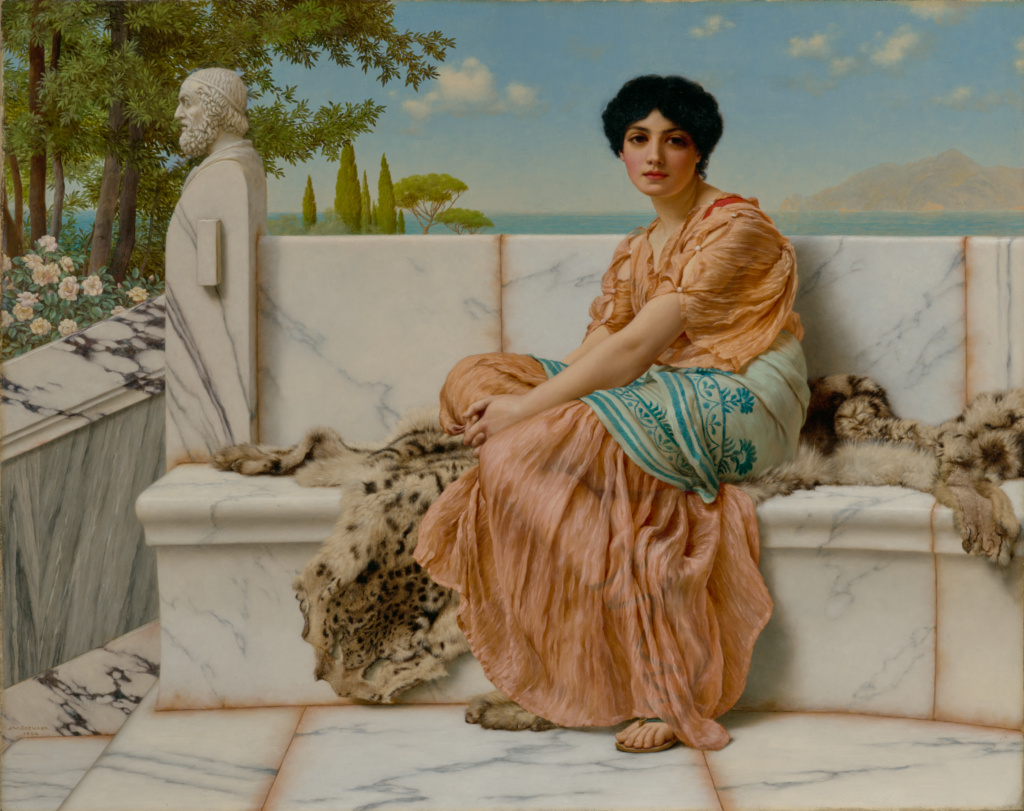 Reverie; John William Godward (British, 1861 - 1922); 1904; Oil on canvas; 58.4 × 73.7 cm (23 × 29 in.); 79.PA.150; Rights Statement: No Copyright - United States