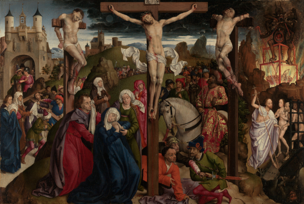 The Crucifixion; Dreux Budé Master, possibly André d'Ypres (French, active by 1425/1426, died 1450); before 1450; Oil on panel; 48.6 × 71.1 cm (19 1/8 × 28 in.); 79.PB.177; Rights Statement: No Copyright - United States