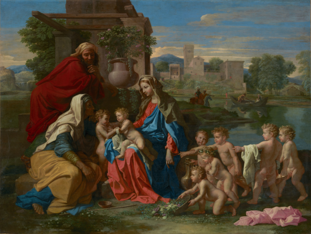 The Holy Family; Nicolas Poussin (French, 1594 - 1665); about 1651; Oil on canvas; 100.6 × 132.4 cm (39 5/8 × 52 1/8 in.); 81.PA.43; The J. Paul Getty Museum, Los Angeles, Owned jointly with the Norton Simon Art Foundation, Pasadena; Rights Statement: No Copyright - United States