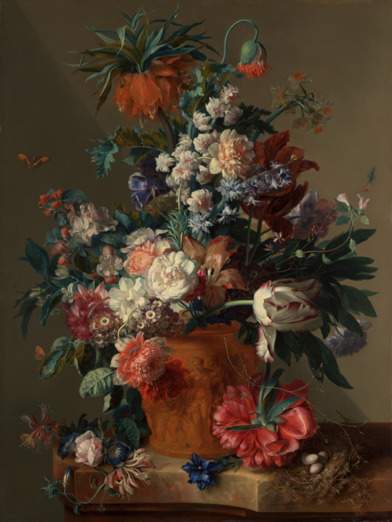 Vase of Flowers; Jan van Huysum (Dutch, 1682 - 1749); 1722; Oil on panel; 80.3 × 61 cm (31 5/8 × 24 in.); 82.PB.70; Rights Statement: No Copyright - United States