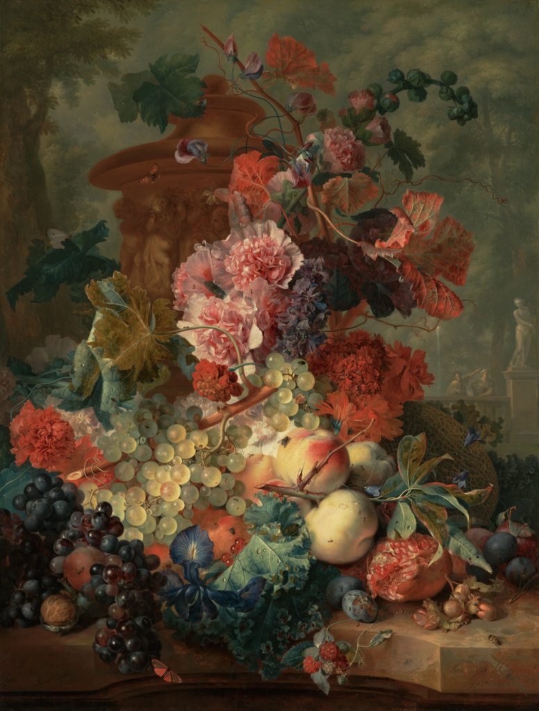 Fruit Piece; Jan van Huysum (Dutch, 1682 - 1749); 1722; Oil on panel; 80 × 61 cm (31 1/2 × 24 in.); 82.PB.71; The J. Paul Getty Museum, Los Angeles; Rights Statement: No Copyright - United States
