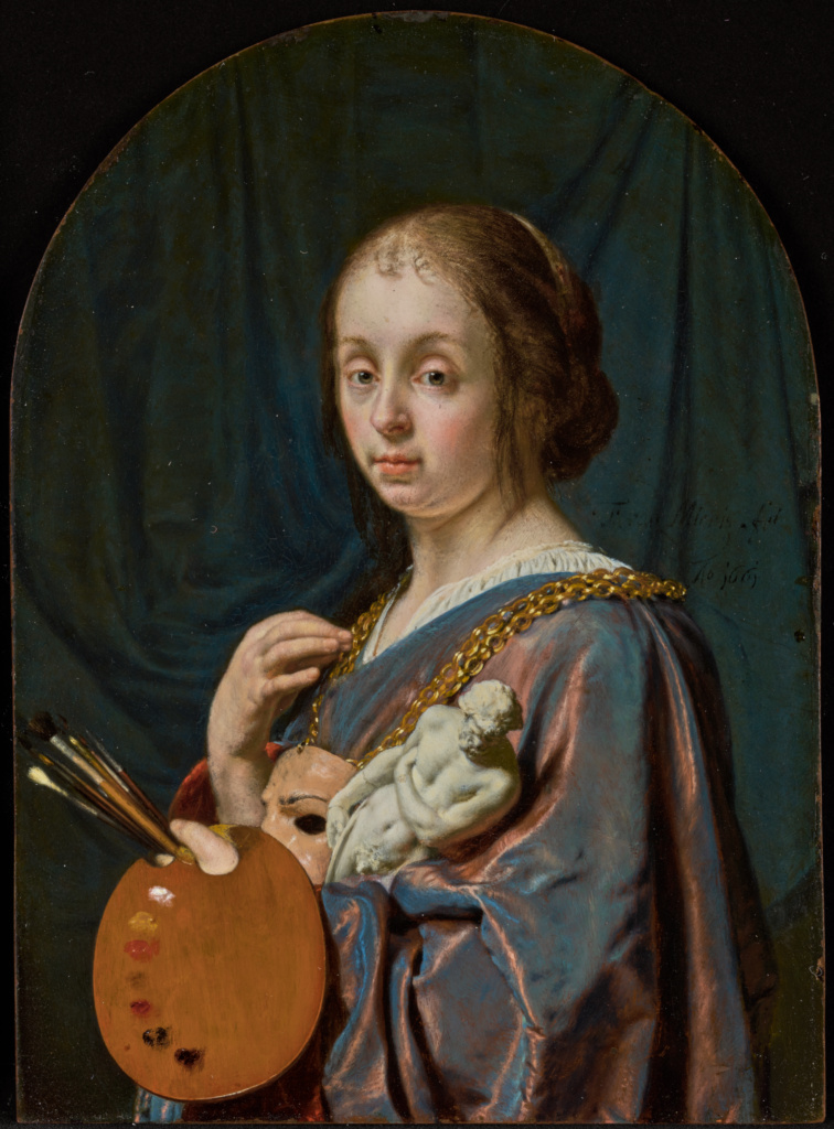 Pictura (An Allegory of Painting); Frans van Mieris the Elder (Dutch, 1635 - 1681); 1661; Oil on copper; 12.7 × 8.9 cm (5 × 3 1/2 in.); 82.PC.136; Rights Statement: No Copyright - United States