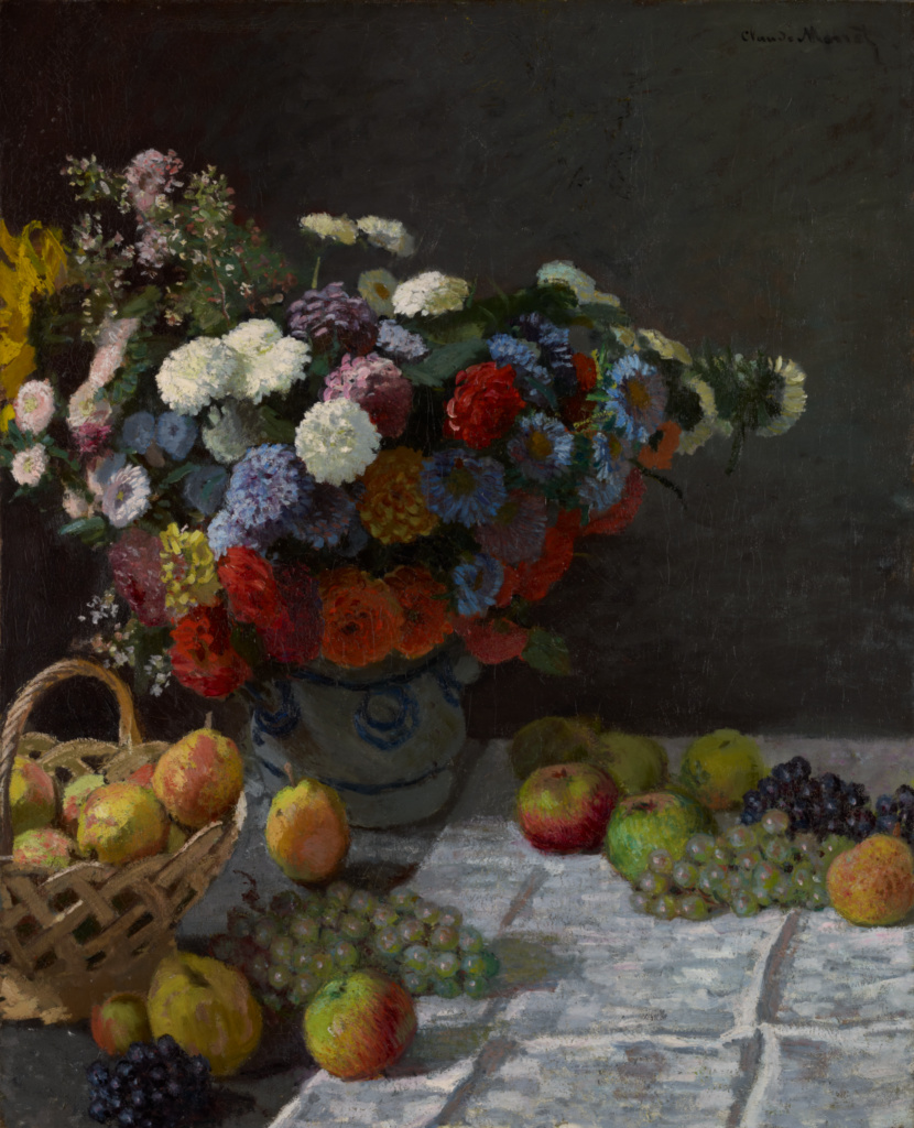 Still Life with Flowers and Fruit; Claude Monet (French, 1840 - 1926); France; 1869; Oil on canvas; 100.3 × 81.3 cm (39 1/2 × 32 in.); 83.PA.215; The J. Paul Getty Museum, Los Angeles; Rights Statement: No Copyright - United States