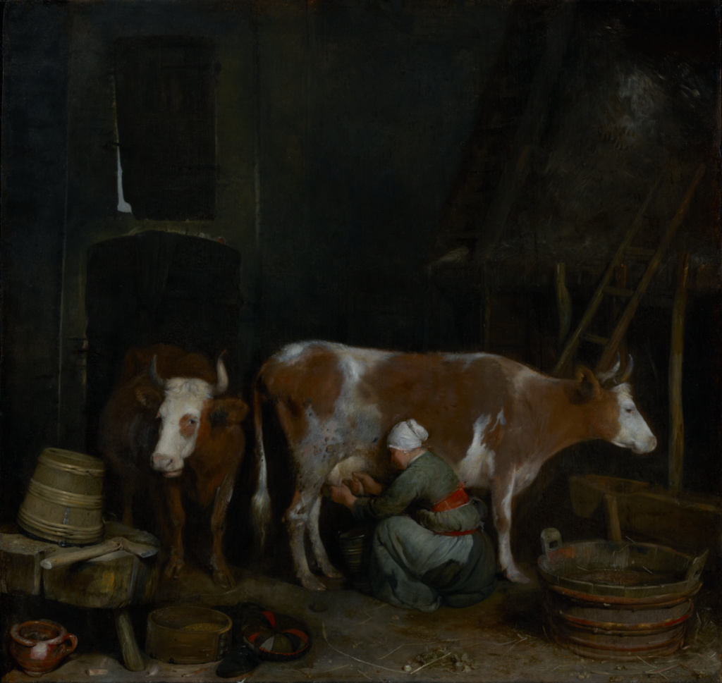 A Maid Milking a Cow in a Barn; Gerard ter Borch (Dutch, 1617 - 1681); about 1652–1654; Oil on panel; 47.3 × 49.8 cm (18 5/8 × 19 5/8 in.); 83.PB.232; The J. Paul Getty Museum, Los Angeles; Rights Statement: No Copyright - United States