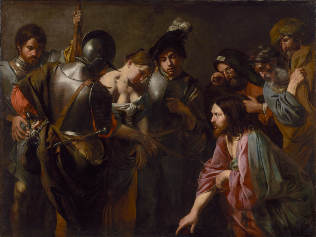 Christ and the Adulteress; Valentin de Boulogne (French, 1591 - 1632); about 1620s; Oil on canvas; 167 × 221.3 cm (65 3/4 × 87 1/8 in.); 83.PA.259; The J. Paul Getty Museum, Los Angeles; Rights Statement: No Copyright - United States