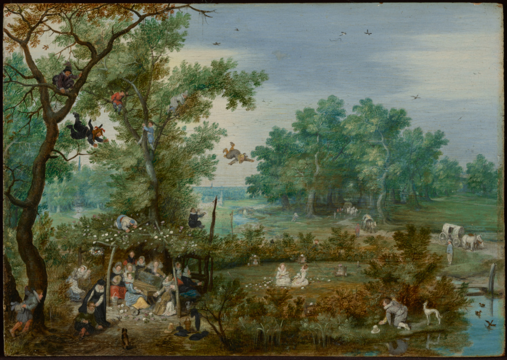 Merry Company in an Arbor; Adriaen van de Venne (Dutch, 1589 - 1662); 1615; Oil on panel; 16.4 × 23 cm (6 7/16 × 9 1/16 in.); 83.PB.364.1; The J. Paul Getty Museum, Los Angeles; Rights Statement: No Copyright - United States