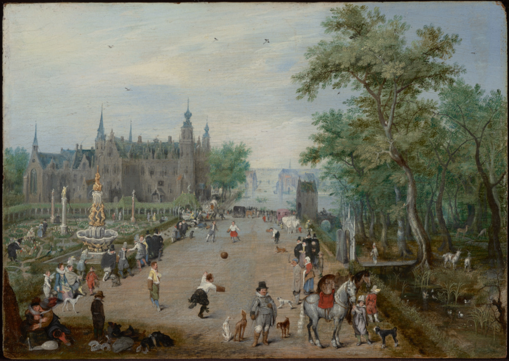 A Jeu de Paume Before a Country Palace; Adriaen van de Venne (Dutch, 1589 - 1662); about 1614; Oil on panel; 16.5 × 22.9 cm (6 1/2 × 9 in.); 83.PB.364.2; The J. Paul Getty Museum, Los Angeles; Rights Statement: No Copyright - United States