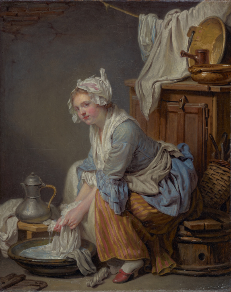 The Laundress (La Blanchisseuse); Jean-Baptiste Greuze (French, 1725 - 1805); 1761; Oil on canvas; 40.6 × 33 cm (16 × 13 in.); 83.PA.387; Rights Statement: No Copyright - United States