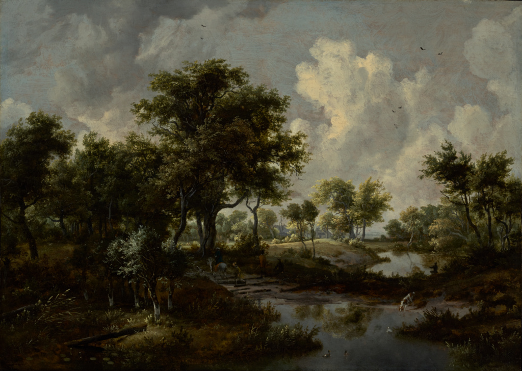 A Wooded Landscape; Meindert Hobbema (Dutch, 1638 - 1709); 1667; Oil on panel; 61 × 84.8 cm (24 × 33 3/8 in.); 84.PB.43; Rights Statement: No Copyright - United States