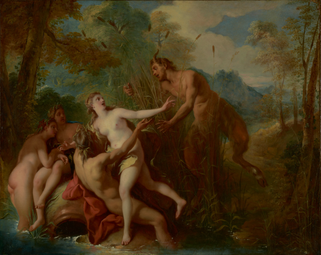 Pan and Syrinx; Jean-François de Troy (French, 1679 - 1752); 1722–1724; Oil on canvas; 74.3 × 92.1 cm (29 1/4 × 36 1/4 in.); 84.PA.45; Rights Statement: No Copyright - United States