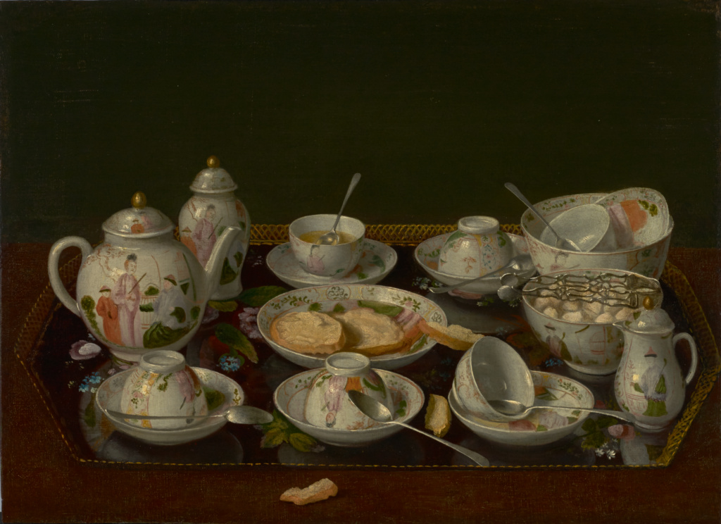 Still Life: Tea Set; Jean-Étienne Liotard (Swiss, 1702 - 1789); about 1781–1783; Oil on canvas mounted on board; 37.8 × 51.6 cm (14 7/8 × 20 5/16 in.); 84.PA.57; Rights Statement: No Copyright - United States