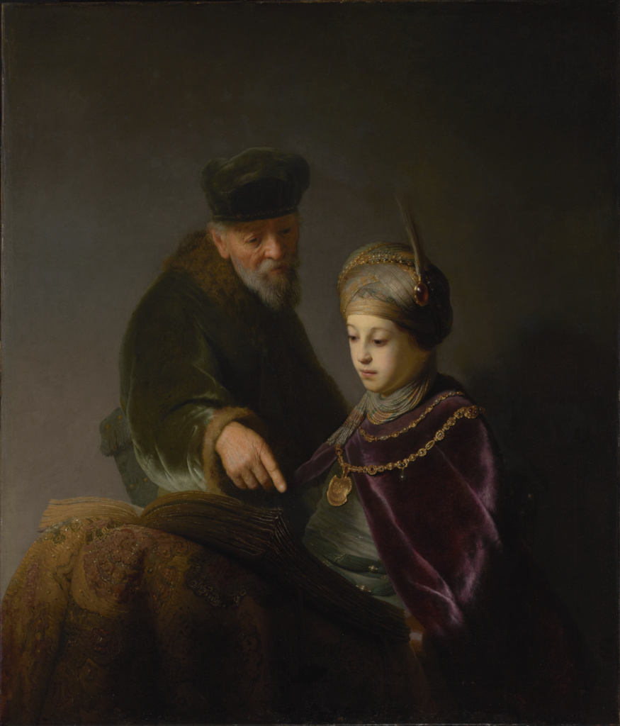 A Young Scholar and his Tutor; Workshop of Rembrandt Harmensz. van Rijn (Dutch, 1606 - 1669); about 1629–1630; Oil on canvas; 104.6 × 88.9 cm (41 3/16 × 35 in.); 84.PA.570; Rights Statement: No Copyright - United States