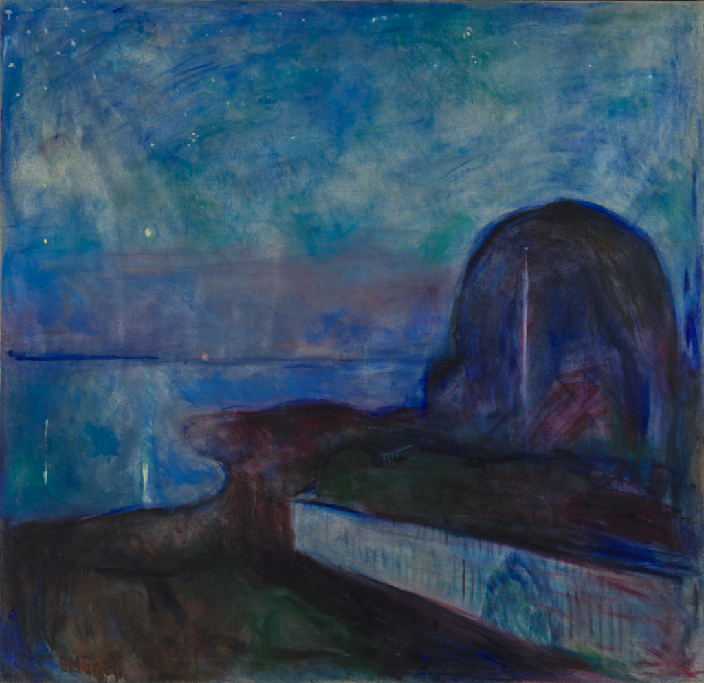 Starry Night; Edvard Munch (Norwegian, 1863 - 1944); 1893; Oil on canvas; 135.9 × 140.3 cm (53 1/2 × 55 1/4 in.); 84.PA.681; Rights Statement: No Copyright - United States