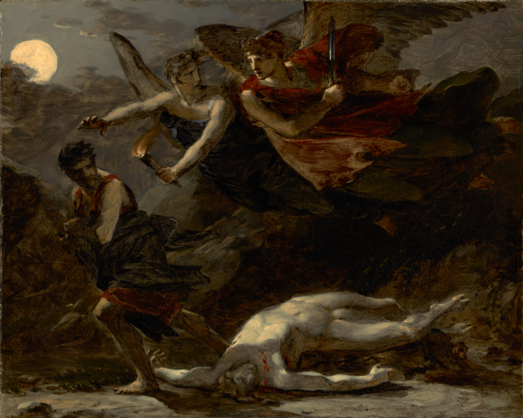 Justice and Divine Vengeance Pursuing Crime; Pierre-Paul Prud'hon (French, 1758 - 1823); about 1805–1806; Oil on canvas; 33 × 41 cm (13 × 16 1/8 in.); 84.PA.717; The J. Paul Getty Museum, Los Angeles; Rights Statement: No Copyright - United States