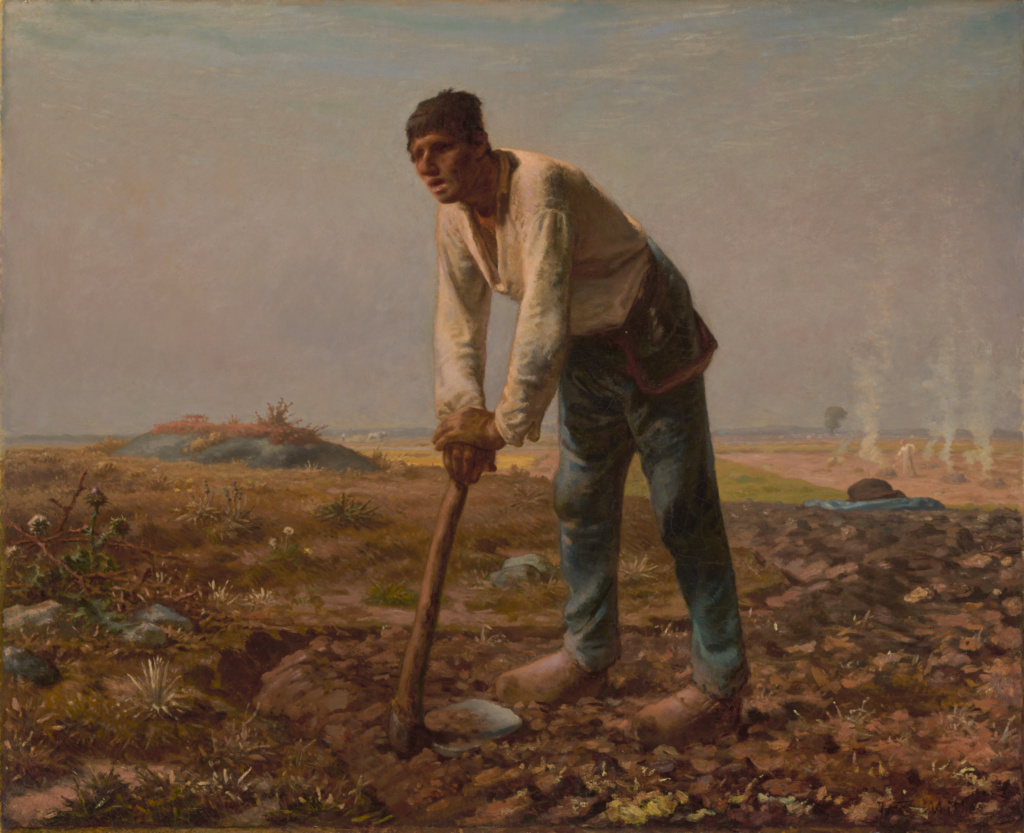 Man with a Hoe; Jean-François Millet (French, 1814 - 1875); 1860–1862; Oil on canvas; 81.9 × 100.3 cm (32 1/4 × 39 1/2 in.); 85.PA.114; Rights Statement: No Copyright - United States