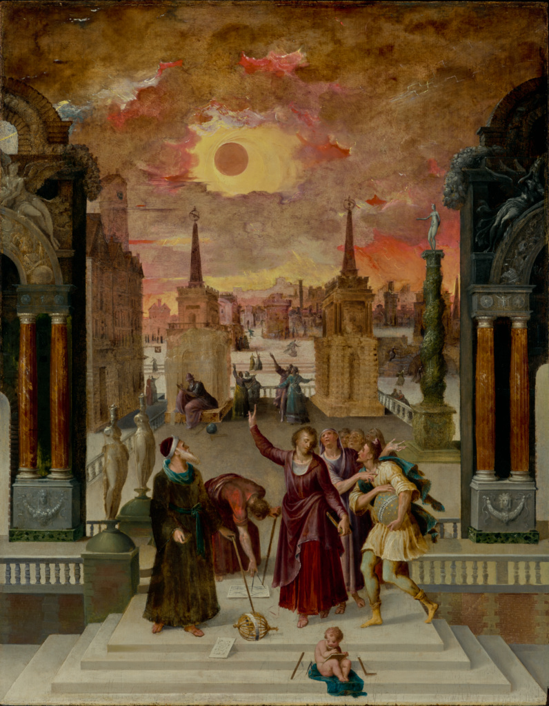 Dionysius the Areopagite Converting the Pagan Philosophers; Antoine Caron (French, 1521 - 1599); 1570s; Oil on panel; 92.7 × 72.1 cm (36 1/2 × 28 3/8 in.); 85.PB.117; The J. Paul Getty Museum, Los Angeles; Rights Statement: No Copyright - United States