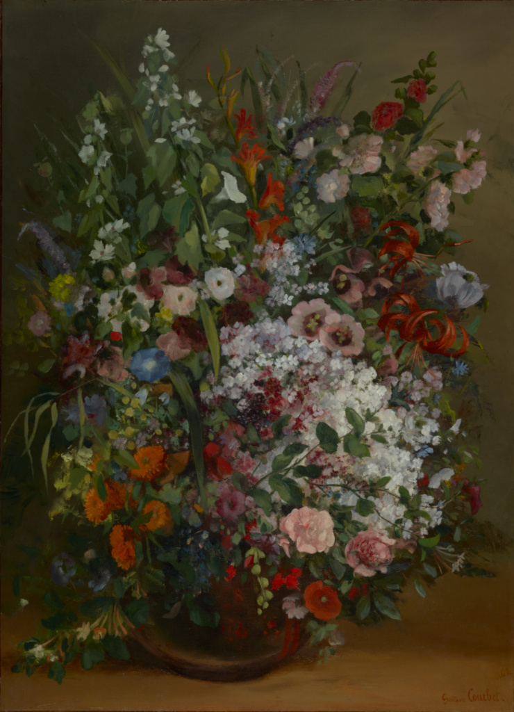 Bouquet of Flowers in a Vase; Gustave Courbet (French, 1819 - 1877); 1862; Oil on canvas; 100.3 × 73.3 cm (39 1/2 × 28 7/8 in.); 85.PA.168; The J. Paul Getty Museum, Los Angeles; Rights Statement: No Copyright - United States